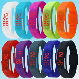 Wholesale Touch Watches Sale - Hot Sale Sport Watches Rectangle LED Digital Display Touch Screen Watches Silicone Rubber Bracelets Wrist Watches 0055-50CHR