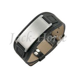 Livraison gratuite de haute qualité en cuir véritable bracelet en acier inoxydable 316L hommes gravent bracelet (peut être personnalisé) ? partir de fabricateur