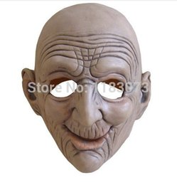 Wholesale Old Man Latex Mask - Wholesale-High Quality Halloween Costume Party Funny Smiling Old Man Latex Mask for Old People cosplay Free Shippping