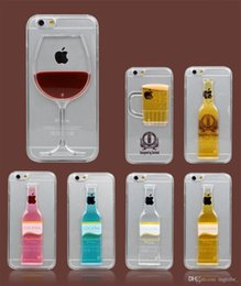 Wholesale Exclusive Cases - Exclusive 3D Red Wine Cup Liquid Transparent Hard Case Cover For Apple iPhone 5 6 6plus s6 edge plus s6 Phone Cases Flowing Wine Back Covers