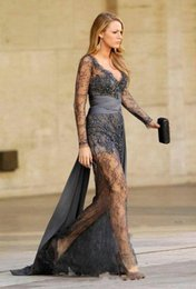 Wholesale Lace Gossip Girl Dress - 2016 Evening Dresses Sexy Zuhair Murad Haute Couture Blake Lively Grey Lace Dress Sheer Long Sleeves V Neck Gossip Girls Formal Gowns