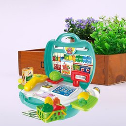 Wholesale Cash Register Wholesalers - Wholesale- Cashier Counter Box Container Girls Pretend Shop Shopping Cash Register Toy