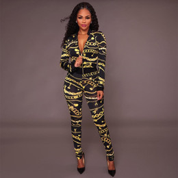 Wholesale Long Sleeved Jumpsuits - Women's 2 Pieces Set Autumn Long Sleeved Jacket + Long Pants Jumpsuit Gold Chain Printing Outfits Fall Clubwear