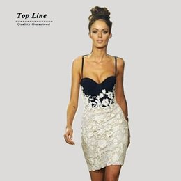 Wholesale Sexy White Lace - Black and white lace dress sexy party Club dresses club stitching bodycon spaghetti strap dresses summer women mini dress