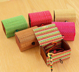 Wholesale Wooden Jewelry Box For Rings - Vintage Storage Boxes Home Desk Decoration Bamboo Wooden Case for Ring Earrings Necklace Jewelry Display Box Organizer