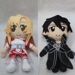 Wholesale Asuna Pillow - Wholesale-12'' 30cm SAO Sword Art Online Asuna Kirito Kazuto Stuffed Plush Toys Dolls Pillows New 2pcs set