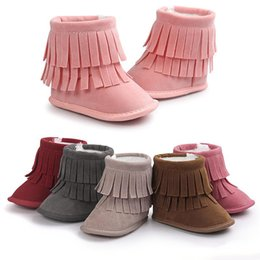 Wholesale Snowboots Boys - New Baby tassels snowboots 8colors cute toddlers soft sole warm boots boys girls winter fashion firstwalkers