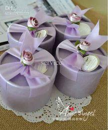 Wholesale Pink Circle Favor Box - 50Pcs Lot Purple Pink Color Candy Boxes Wedding Favors Circle Rose Flower Gift Boxes 2015 Hot Sale