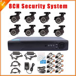Wholesale D1 H 264 8ch - Color Video Surveillance System CCTV 8CH Full D1 P2P 1080P HDMI H. 264 DVR Security System CMOS 700TVL Outdoor IR Camera Kit