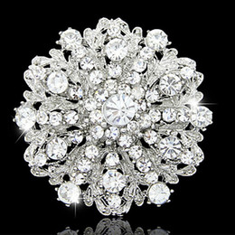Wholesale Crystal Broaches - Vintage Fashion Hot Selling Stunning Diamante Flower Brooch Wedding Bridal Costume Pins Broaches Elegant Gift Pins Top Quality Hot Selling