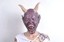 Wholesale Masquerade Masks Horns - 362M Cosplay halloween party mask Horrible Masquerade Corpse mask with horn Ball Ghost face mask for man hag latex simulation