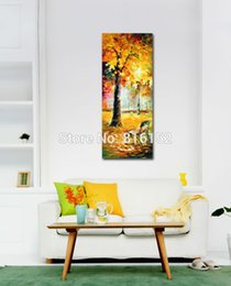 Wholesale Golden Forest - Palette Knife Oil Painting The World of Golden sea Park Forest Scenery Landscape Picture Canvas Prints for Home Living Wall Decor