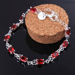 Wholesale Ruby Element - Charms infinity Ruby crystal red Swarovski Elements Christmas gift beautiful wedding party 925 sterling silver fashion Bracelet jewelry