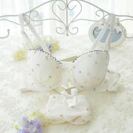 Wholesale Push Up Bra Cute - Cute Young Girl Cotton underwear set Lace Floral Underwire Push up Padded Bra and Panty Set AB cup