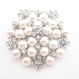 Wholesale Pearl Bouquet Diy - Hot Selling High Quality Imitation Pearl Flower Pins Brooches B028 Sparkling Clear Crystal Bridal Bouquet DIY Brooch For Wedding Women Gift