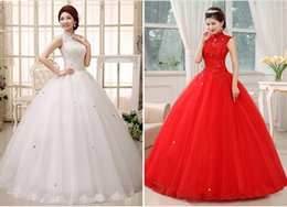 Wholesale Gowns Ancient - Free shipping corset Lace up wedding dress Restoring ancient ways china wedding dress ball gown weddingdress 2 color Red White HS348