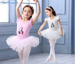 Wholesale Dress Shoes Girl Bow - Children ballet dance dress kids Bows sequins shoes 3D embroidery Buds short sleeve tulle tutu dress girls cotton practice costumes R0930