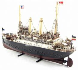 1915 Machlin Luxury Liner Model Handmade Antique Vintage Metal Ship Boat Collection Decoration Gift Gift Home Decor
