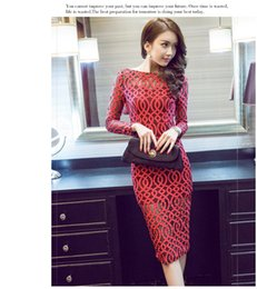Wholesale Dress Spring Sex Free - Spring Autumn Winter Women Red Black Green Sex Lace Hollow Out Slim Party Wedding Evening Dress one piece Free Shipping