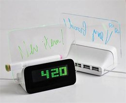 Wholesale Led Board Kid - Hot sale LED Luminous Luminova Message Board Digital kids Alarm Clock With Calendar LED Clock Desk & Table Clocks Chrismas gift for child