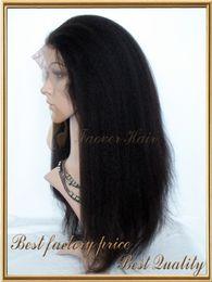 Wholesale Brazilian Yaki Hair 1b - Faover Hair 7A Kinky Straight Coarse Yaki 1#,1b,2#,4#,Natural Color 100% Brazilian Virgin Hair Front Lace wig 130% density with baby hair