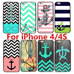 Wholesale Wholesale I Phone 4s - Wholesale-2015 New Arrive Cartoon Cute with Stripe Anchor Print Hard Case Cover for Apple i Phone iPhone 4 4S 4G for iPhone4s iPhone4