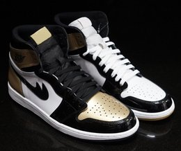 Wholesale Red Lace Material - Authentic Quality Air Retro 1 High OG NRG Gold Top 3 Real Leather Original Material Man Basketball Shoes Sneakers 7-13 With box