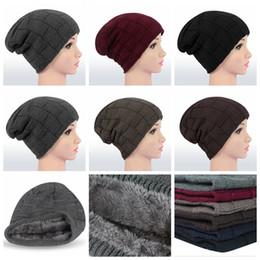 Wholesale Slouchy Beanie For Men - warm plaid winter knitted hat beanies hats for men beanie wool cap skullies men casual warm plaid bonnet caps Knit Slouchy Hat LJJK822