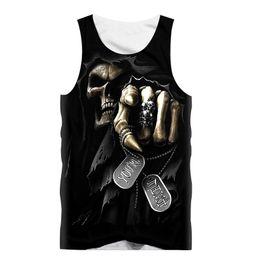 Wholesale Boys Sleeveless Undershirts - Wholesale- Black Tank Top Men T-Shirt Sleeveless Shirt Skull Punisher Grim Reaper 3D Print Boy Fitness Undershirt Fashion Womens Sexy Tee