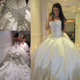 Wholesale Designer Cathedral Wedding Gowns - Gorgeous Hot Sale Wedding Dresses Ball Gown Designer New 2015 Crystal Pearls Embroidery For Church Wedding Party Gowns
