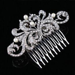 Wholesale Vintage Pearl Wedding Hair Combs - 3.85 Inch Silver Tone Rhinestone Crystal and Ivory Pearl Flower Wedding Hair Comb Bridal Hair Decoration Vintage Jewelry