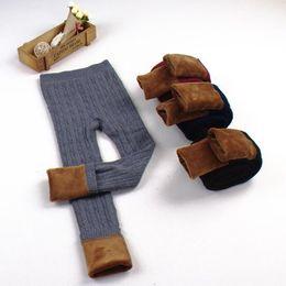 Wholesale Warm Pants Winter Trousers - Kids Plus Thick Baby Leggings Tights Pants Christmas Gifts Winter Baby Girls Girls Elastic Warm Legging Girl Trousers KKA3587