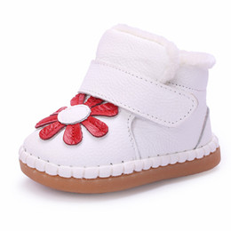 Wholesale Girls Pink Fur Boots - Wholesale- 2016 Flower Winter Infant Shoes Toddlers Baby Snow Boots Soft Kids Cotton Shoes Enfant Winter Baby Girl Warm Boots First Walkers