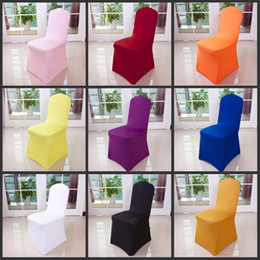 Wholesale Ivory Spandex Chair Covers - Hot sale Universal ivory Black White Spandex Stretch Chair Cover Lycra For Wedding Banquet Party Hotel Decorations