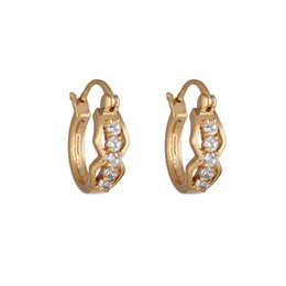 Wholesale Brass Glass Chandelier - 1Pair Clear Crystal Zircon 18K Gold Plated Glasses Hoop Earrings Loop Clasp Jewelry Gift for Women Lady