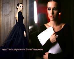Wholesale Sexy Images Net - 2015 Vintage Gothic prom dresses with long sleeves bateau neck backless A line tulle net skirt custom made black black Evening gowns BO6472