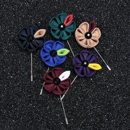 Wholesale Gray Invitations - 10pieces  lotKorean mens flower lapel pins hand Ribbon Sunflower refined British wedding invitations men's suits Accessories