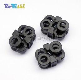 Wholesale Hole Plastic Buttons - 100pcs lot 2 Hole 5.7mm Shoelace Plastic Buckles Cord Locks Toggle Stopper Black