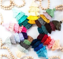Wholesale natural cotton thread - Christmas Gift 10mm Round Natural Wood Beaded Chain Cotton Layered Tassel Pendant Long Chain Tiered Threaded Tassel Necklace