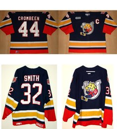 Personalized OHL Barrie Colts Jersey 32 Smith 44 Crombeen 100% Embroidered Best  quality Ice Hockey Cheap Jerseys Customized Goalit Cut 5f8aacfe2