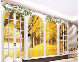 Fond d'écran 3D européenne chambre minimaliste salon TV fond d'écran Or fenêtre 3D rayures abstrait papier peint mural 201510403 ? partir de fabricateur