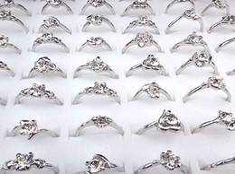 Wholesale Cheap Wholesale Fashion Jewelry Sets - 2016 new Cheap Hot Sale 100pcs Wholesale Jewelry Lots Cubic Zircon Women Silver P Fashion Rings A-165
