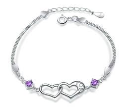 2019 weißgold nummer 925 Großhandel Feine Schmucksachen Cubic Zriconia Silver Heart Armband 100% garantierte feste 925 Sterling Silber Armband YH4201