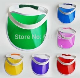Wholesale Cap Plastic Peaks - Wholesale-Neon sun visor peak cap plastic visor sun hat rave festival fancy dress poker headband