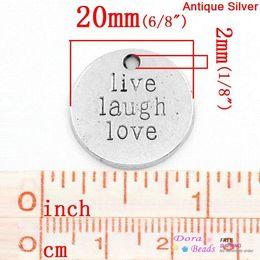 """Wholesale Antique Coin Pendant - Charm Pendants Round Antique Silver """"Live Laugh Love"""" & Stripe Carved 20mm Dia,30PCs (B26825)8seasons pendant light"""