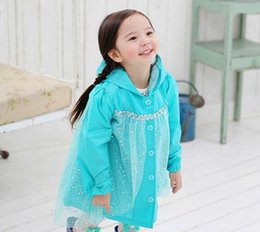 Wholesale Queen Baby - Frozen Fashion Baby Girls Clothes Snow Queen Elsa Blue Gauze Coat Princess Raincoat Jacket