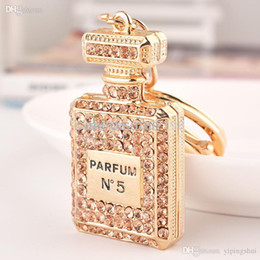Wholesale Gold Items 24k - Wholesale-Hot sale Charming Classic Lady Gift Crystal Perfume bottles Keychain Costume Bijouterie items