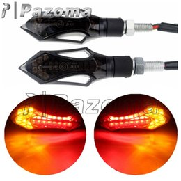 Wholesale E Bike Led Light - Pazoma E-marked Approved Motorcycle 12V LED Signal Light Turn Lamps With Smoke Lens Red+Amber Indicator Blinker For 8mm Bikes