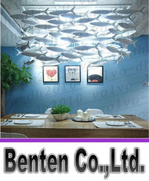 Wholesale led fish lights - Customizable BENCHER Simple Fashion Creative Ceramic Lamps Dining Room Chandelier Fish Llighting Decoration Fishes Lamp Lights
