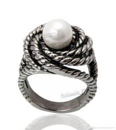 Wholesale Titanium Abalone Ring - Titanium 316L Stainless Steel Freshwater Pearl Women's Silver Ring Band Wedding Gift Size 8-11 New Fashion Jewelry